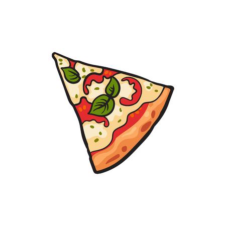 Vector fetta di pizza margarita piatta con pepe, pomodori e formaggio. Illustrazione isolata fumetto degli alimenti a rapida preparazione su un fondo bianco. Icona del cibo italiano. Ristorante, bar oggetto pubblicitario