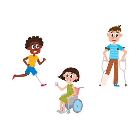 vecteur plat désactivé les gens ensemble. Garçon de dessin animé debout sur des béquilles avec une jambe cassée en plâtre, homme noir en cours d'exécution avec une prothèse de la jambe, fille en fauteuil roulant. illustration isolée sur un fond blanc.