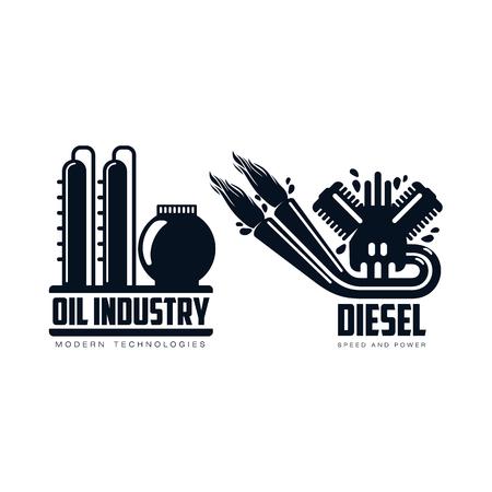 vector diesel benzinemotor met vuur uit uitlaatpijp, olieraffinaderij plant eenvoudige platte pictogram pictogram set geïsoleerd op een witte achtergrond. Gasoliemotor, energiemacht aardolie-industrie symbool, teken