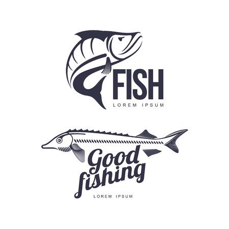 gestileerde steur goede vissen belettering inscriptie en baars vis pictogram pictogrammenset. Merk, logo-ontwerp. Vector platte silhouet illustratie geïsoleerd op een witte achtergrond.