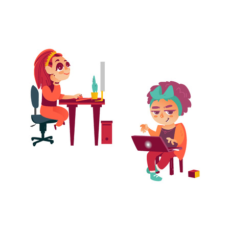vector flat cartoon teen girl sits at chair behind desktop using pc, looking at monitor typing at keyboard, hipster kid using laptop sitting at chair. Isolated illustration on a white background.