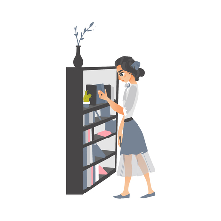 Young woman taking, picking a book from bookcase, bookstand in library, store, flat cartoon vector illustration isolated on white background. Pretty girl, woman taking a book from bookcase, side view