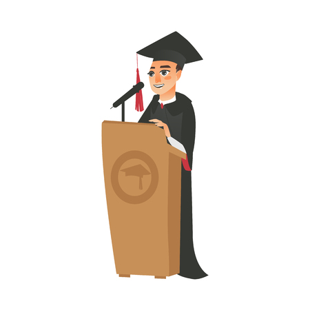 vector flat cartoon male college, university happy graduate character, boy in graduation gown, cap holding diploma speaking in microphone at tribune. Isolated illustration on a white background. Иллюстрация