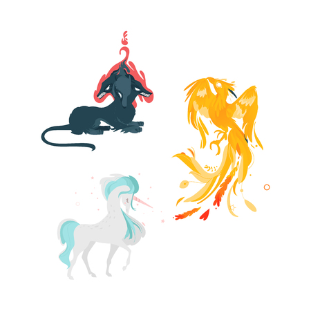 vector flat cartoon mythical animals set. Elegant unicorn fairy fictional horse with horn, phoenix and cerberus dog with three heads. Isolated illustration on a white background. Stock Photo