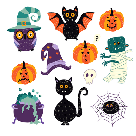 vector flat cartoon halloween autumn holiday symbols set. Black cat, bat pumpkins, zombie, withc bowl and hat, spider in net, owl in hat and skull. Isolated illustration on a white background.
