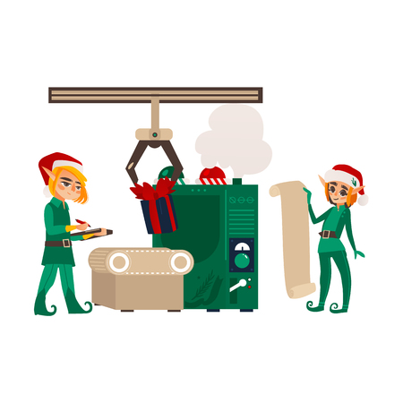 vector flat christmas elf boys standing near conveyor with holiday present toys listing it on scroll, clipboard. Fairy holiday character, christmas santa hat. Isolated illustration on white background