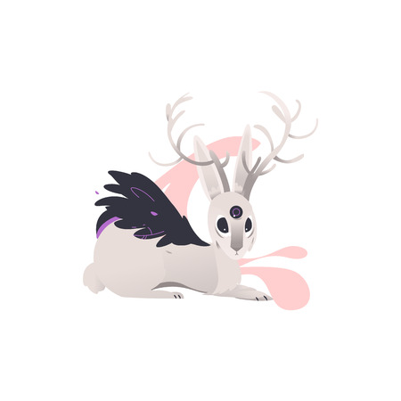 vector flat cartoon mythical animal - fairy fictional hare with wings, three eyes and deer horns . Isolated illustration on a white background. Иллюстрация