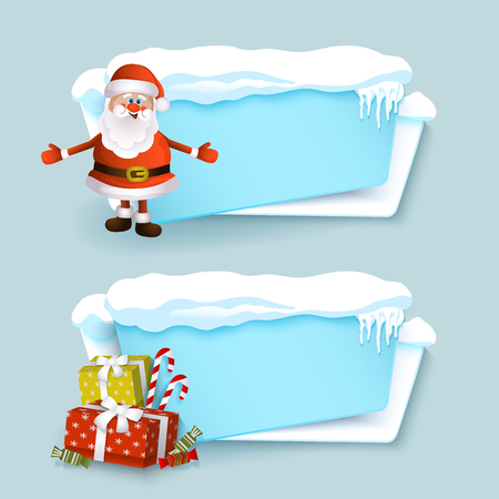 vector cartoon realistic white, blue winter empty banner templates wit snow caps, icicles and christmas new year holidays symbols - present boxes, santa claus set. Illustration on grey background.