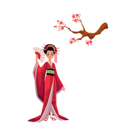 Geisha in kimono and blooming cherry tree, sakura branch, symbols of Japanese culture, cartoon vector illustration on white background. Beautiful Japanese geisha in kimono and branch of pink sakura