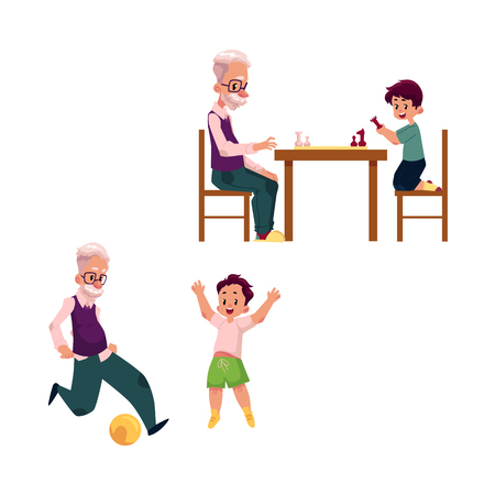 vector flat grandparents ,children set. grandson and grandfather playing chess sitting at table and football . Isolated illustration on a white background.