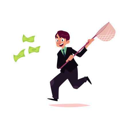 vector flat cartoon man running for money holding butterfly net. Male Clerk, office worker chasing, trying to catch for dollar note. Isolated illustration on a white background. Illustration