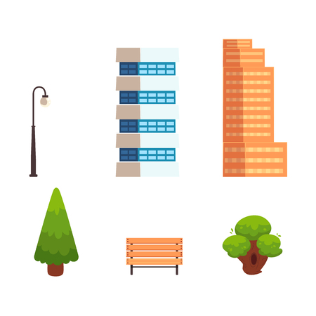 Set of flat city elements - building, business center, street light, bench and trees, vector illustration isolated on white background. Flat buildings, business center, tree, wooden bench and lantern