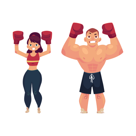 vector cartoon muscular strong cute beautiful woman, girl and handsome man standing with hands in red boxing gloves raised up smiling like winner. Isolated illustration on a white background.