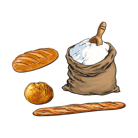 vector sketch cartoon flour or sugar burlap bag or sack with wooden scoop, white bread loafs and baguette set. Isolated illustration on a white background. Bakery menu, logo brand design element Ilustração