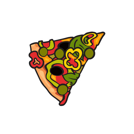 Vector flat pizza slice with pepper, olives cheese and peas. Fast food cartoon isolated illustration on a white background. Italian food icon. Restaurant, cafes advertising object Ilustração
