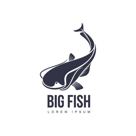 stylized big fish, whale shark icon pictogram. Fishing brand, logo design. Vector flat silhouette illustration isolated on a white background. Illustration