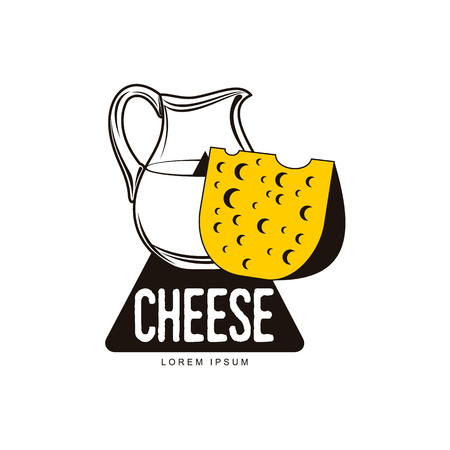 Swiss, holland maasdam yellow piece of porous cheese with holes and milk jug brand, logo product design icon pictrogram silhouette. Isolated flat illustration on a white background. 版權商用圖片 - 88223311