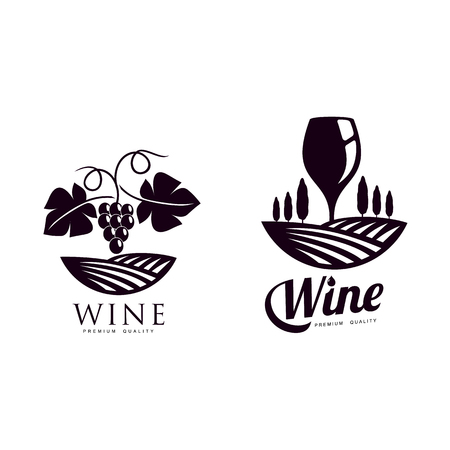 wine corkscrew, glass of wine decorated with grapevine with leaves, ripe grapes and twig set. Elegant Company logo, brand icon design. Isolated illustration on a white background.