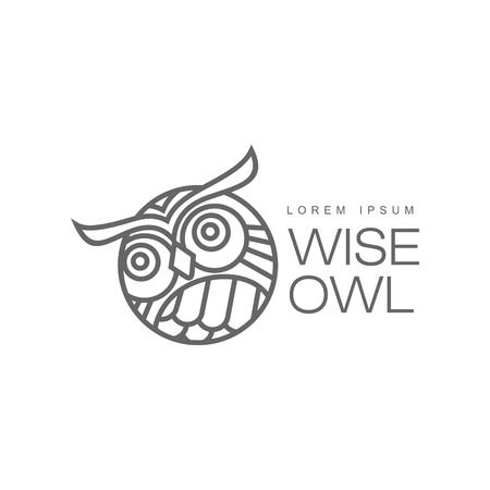 wise hand drawn wise owl head closeup ,brand logo stylized design silhouette pictogram. Line icon bird isolated illustration on a white background. Illustration