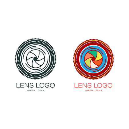 Colorful and outlined variants of photographer logo template with camera lens, vector illustration isolated on white background. Camera lens logo badge logotype template, colorful and black and white