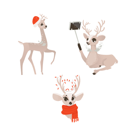 vector flat cartoon cute female christmas reindeer in red scarf head, deer in christmas hat and making selfie winter holiday animal full lenght set. Isolated illustration on a white background.