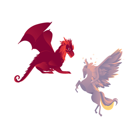 vector flat cartoon mythical animals set. Rearing pegasus fairy fictional horse with eagle wings with rich plumage, feathering and red dragon. Isolated illustration on a white background. Illustration