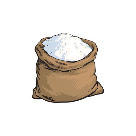 vector sketch cartoon wholemeal bread white flour or sugar burlap bag or sack. Isolated illustration on a white background. Bakery menu, logo brand design element