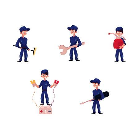 vector flat cartoon funny young man, boy mechanic in blue uniform set. Men holding car battery charger jumper cable clamps, oil canister, wrench and broom. isolated illustration on a white background.