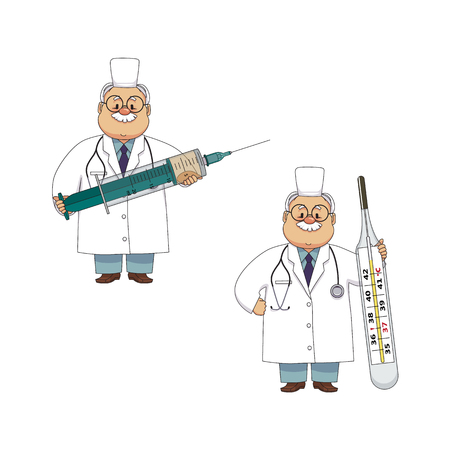 vector flat cartoon adult male doctors, nurses in medical clothing holding big thermometer and syringe smiling set. Isolated illustration on a white background. Illustration
