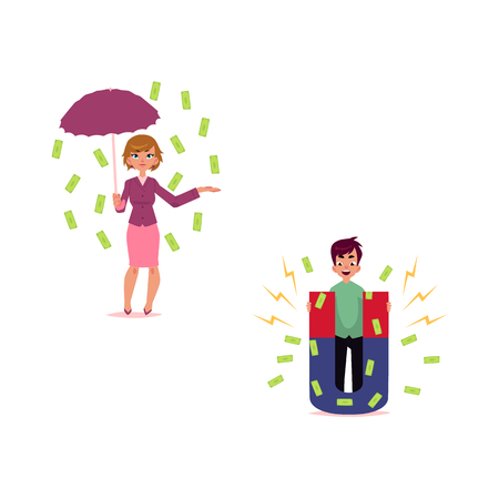 vector flat cartoon girl, woman clerk character standing under money rain with umbrella, man with magnet attracting dollars set. Isolated illustration on a white background. Çizim