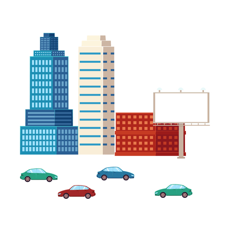 Set of buildings and cars, urban cityscape elements, flat style vector illustration isolated on white background. Flat city elements cars, buildings, skyscraper, business center, apartment house Illustration