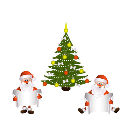 vector cartoon Santa Claus sitting and standing keeping blank white paper with free space for a text on the background of decorated christmas spruce tree. Illustration isolated on a white background.