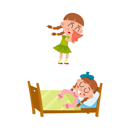 vector flat girl kid doing everyday routine activity set. Child crying, lying in bed under blanket suffering from headache holding thermometer in mouth . Isolated illustration on a white background.