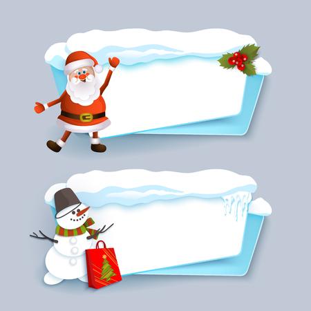 サンタ クロース、雪だるま、氷と雪、フラット漫画と水平のクリスマス バナー ベクトル図の灰色の背景に分離されました。サンタと雪だるまの 2   イラスト・ベクター素材