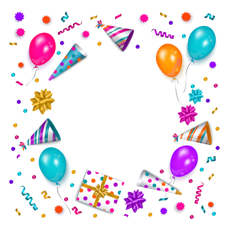 Bandera cuadrada, cartel, marco de tarjeta de felicitación - objeto de la fiesta de cumpleaños con el espacio redondo vacío para el texto, ilustración vectorial aislado sobre fondo blanco. Tarjeta de felicitación de cumpleaños, banner con espacio para texto