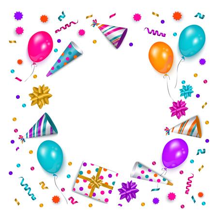 Quadratische Fahne, Plakat, Grußkartenrahmen - Geburtstagsfeiergegenstand mit leerem rundem Raum für Text, Vektorillustration lokalisiert auf weißem Hintergrund. Geburtstagsgrußkarte, Fahne mit Platz für Text