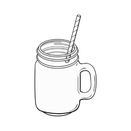 Hand drawn black and white contour matcha tea cocktail, drink, smoothie in glass jar, mug served with straw, sketch vector illustration isolated on white background.