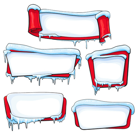 Set of Christmas, winter banners with ice, icicles and sparkling snow, sketch cartoon vector illustration isolated on white background. Set of blank winter banners with ice and snow