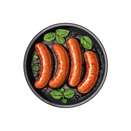 Top view of four freshly grilled, barbequed sausages on frying pan, sketch vector illustration on white background. Realistic hand drawing of German sausages grilled, fried on skillet, frying pan