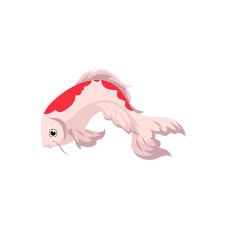 Japanese, Asian koi carp, goldfish, gold fish, cartoon vector illustration isolated on white background. Isolated cartoon picture of Japanese koi carp, golden fish Illustration