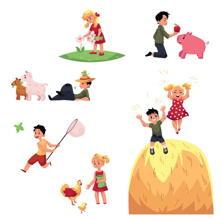 Children spend summer vacation in farm - feeding animals, picking flowers, having fun, cartoon vector illustration isolated on white background. Happy kids, children on farm, enjoy rural lifestyle