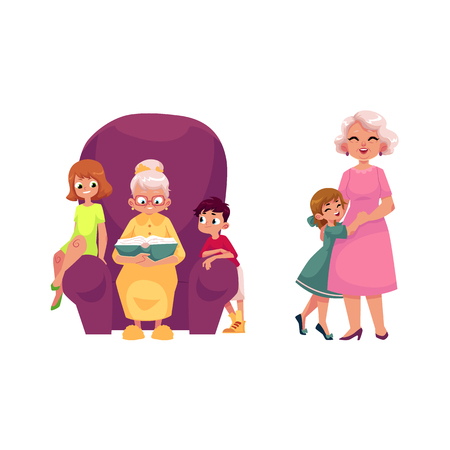vector flat grandparents and children set. boy, girl kids listening to grandmother reading book, sitting at chair, grandmother hugging with small girl . Isolated illustration on a white background. Illustration