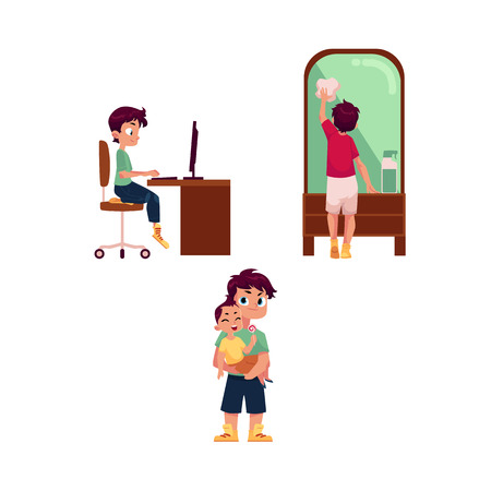 vector flat cartoon teen boy kid doing household chores - cleaning big mirror by rag, doing homework sitting at computer desk, taking care of infant baby. Isolated illustration on a white background.