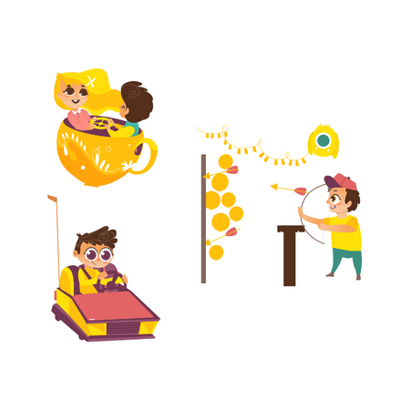 vector flat children in amusement park set. Boy with bow and arrows in Shooting gallery , kid spinning at tea cup carousel, boy in bumper car. Isolated illustration on a white background.