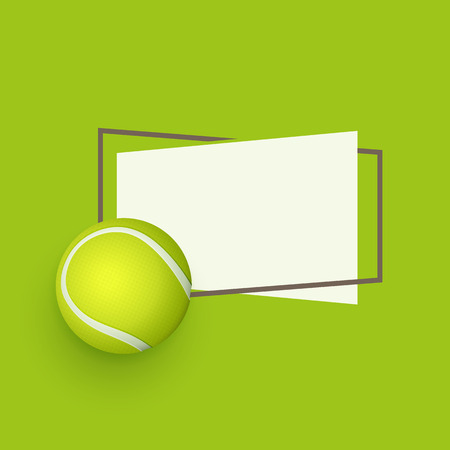 vector flat tennis ball, sport equipment object with paper banner in frame with free space for your text. Graphic advertisement, poster or placard design element. illustration on green background