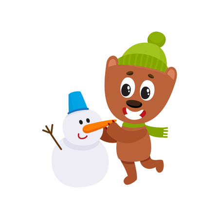 Cute little bear character making a snowman in hat and scarf, winter activity, cartoon vector illustration isolated on white background. Little baby bear animal character making snowman