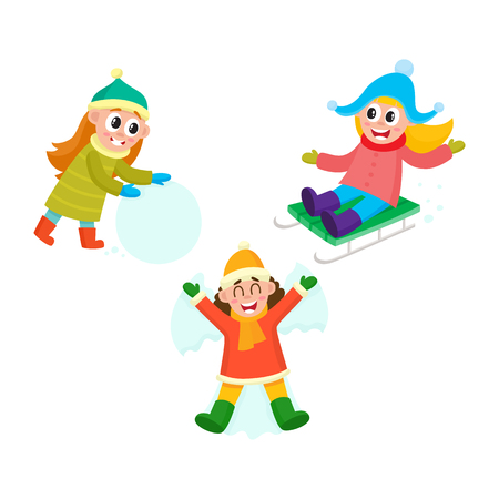 vector girl making big snowball, girl ridinge a sledge, girl lying in snow making snow angel set. Flat cartoon illustration isolated on a white background. Winter children activity concept