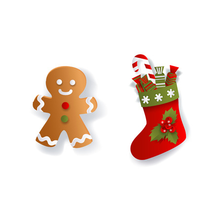 Christmas stocking and gingerman, gingerbread cookie, Xmas decoration elements, flat vector illustration isolated on white background, 3d paper cutout. Flat Christmas stocking and gingerman cookie