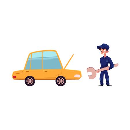 거 대 한 렌치와 측면보기 자동차 정비공 오픈 보닛, 서비스 및 유지 관리 개념, 만화 벡터 그림 흰색 배경에 고립 된 자동차의 그림. 정비사와 자동차