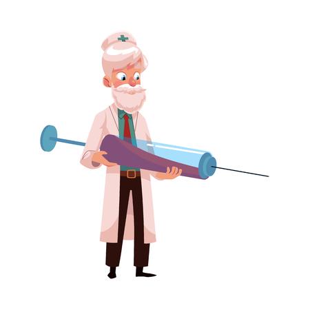 벡터 평면 만화 성인 남성 회색 머리 의사, 웃 고 큰 주사기를 들고 흰색 의료 의류에 머리 의사. 흰색 배경에 고립 된 그림입니다. 일러스트